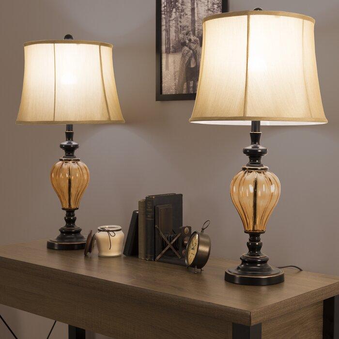 Wayfair Table Lamps >> Amber Glass 30 Table Lamp