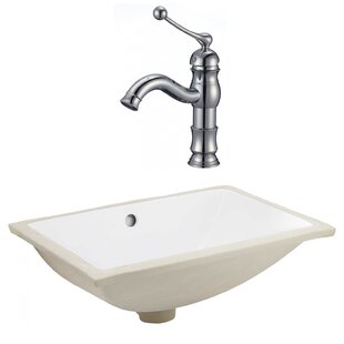 Find for Ceramic Rectangular Undermount Bathroom Sink with Faucet and Overflow ByAmerican Imaginations