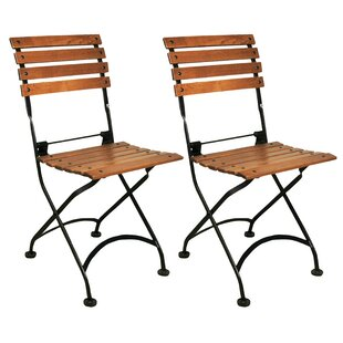 European Café Folding Teak Patio Dining Chair (Set of 2)
