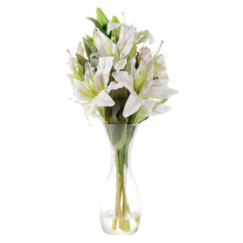 House Of Hampton Tall Lily Floral Arrangement In Glass Vase