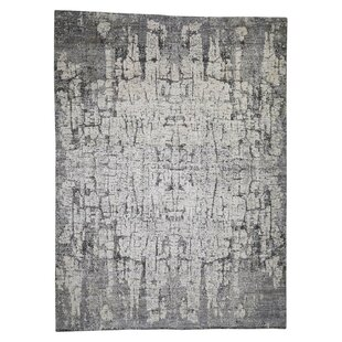 Best Reviews One-of-a-Kind Reichard Hi-Lo Pile the Tree Bark Soft Hand-Knotted 9' x 12'4 Wool Gray/White Area Rug By Isabelline