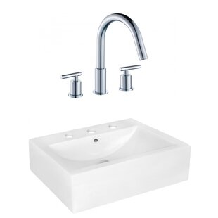 Price Check Above Counter Ceramic Rectangular Vessel Bathroom Sink with Faucet and Overflow ByRoyal Purple Bath Kitchen