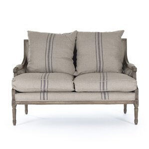 Bodil Khaki Linen Loveseat by One Allium Way