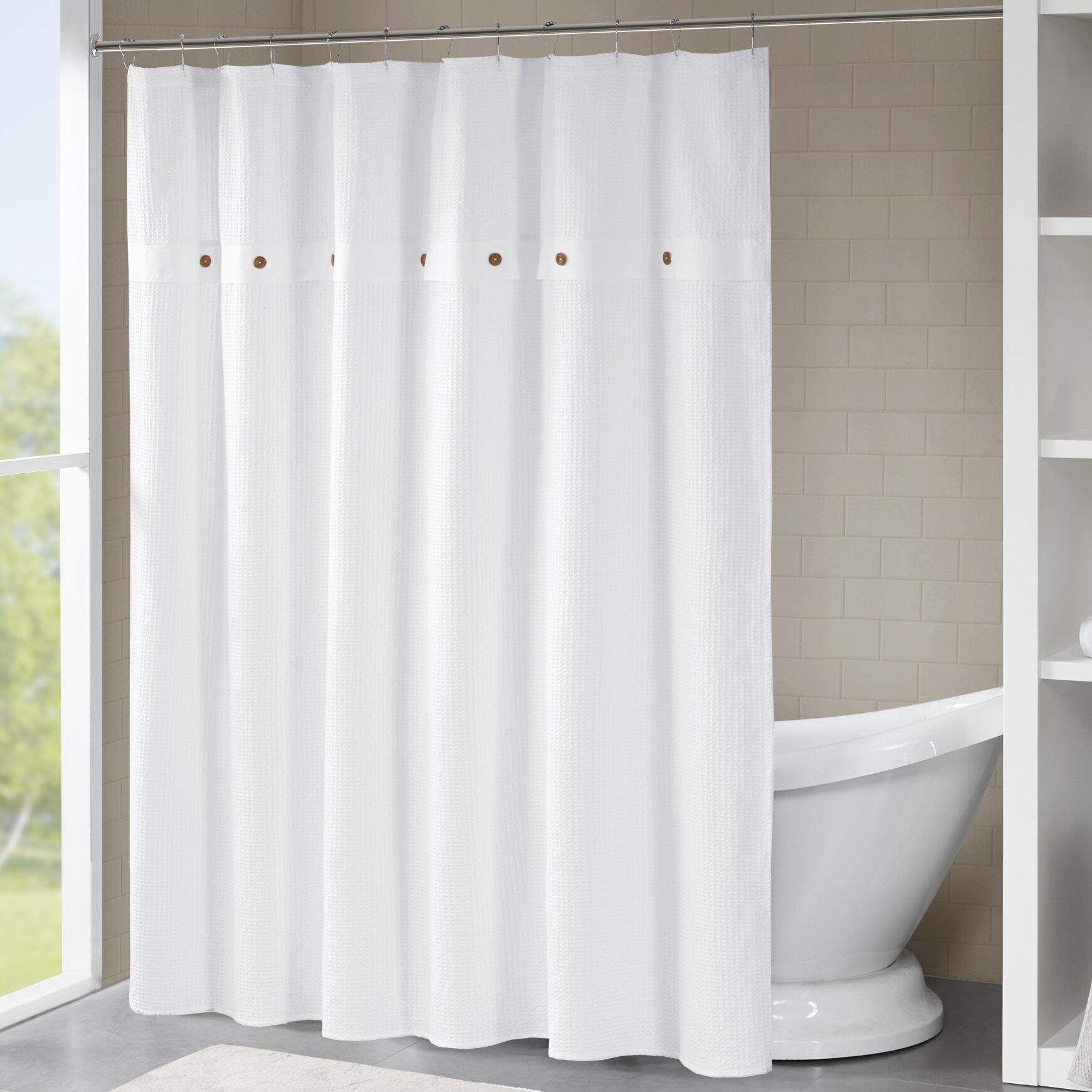 Carmella Waffle 100 Cotton Single Shower Curtain
