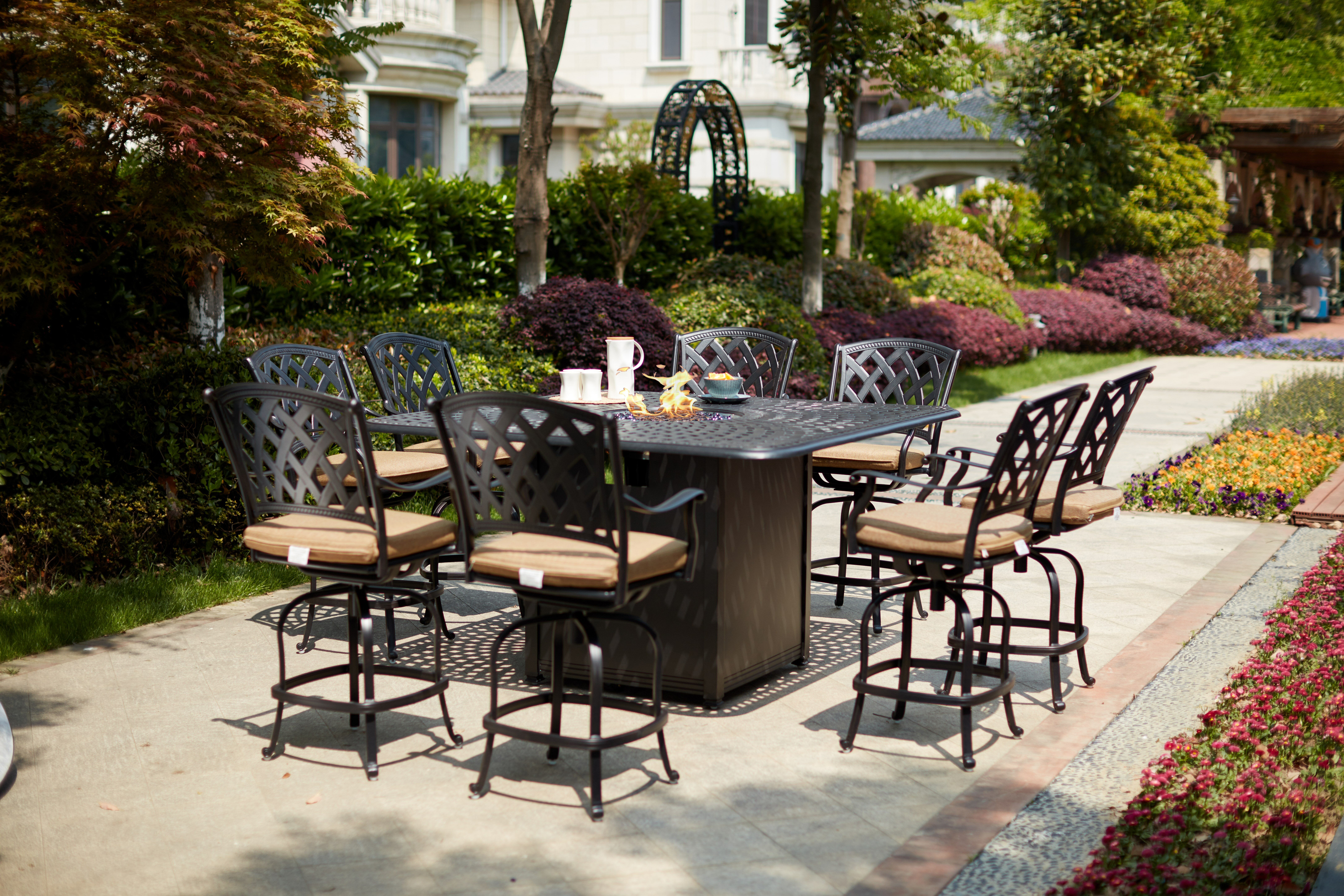 Image of: Canora Grey Milstead 9 Piece Bar Height Dining Set With Firepit Wayfair