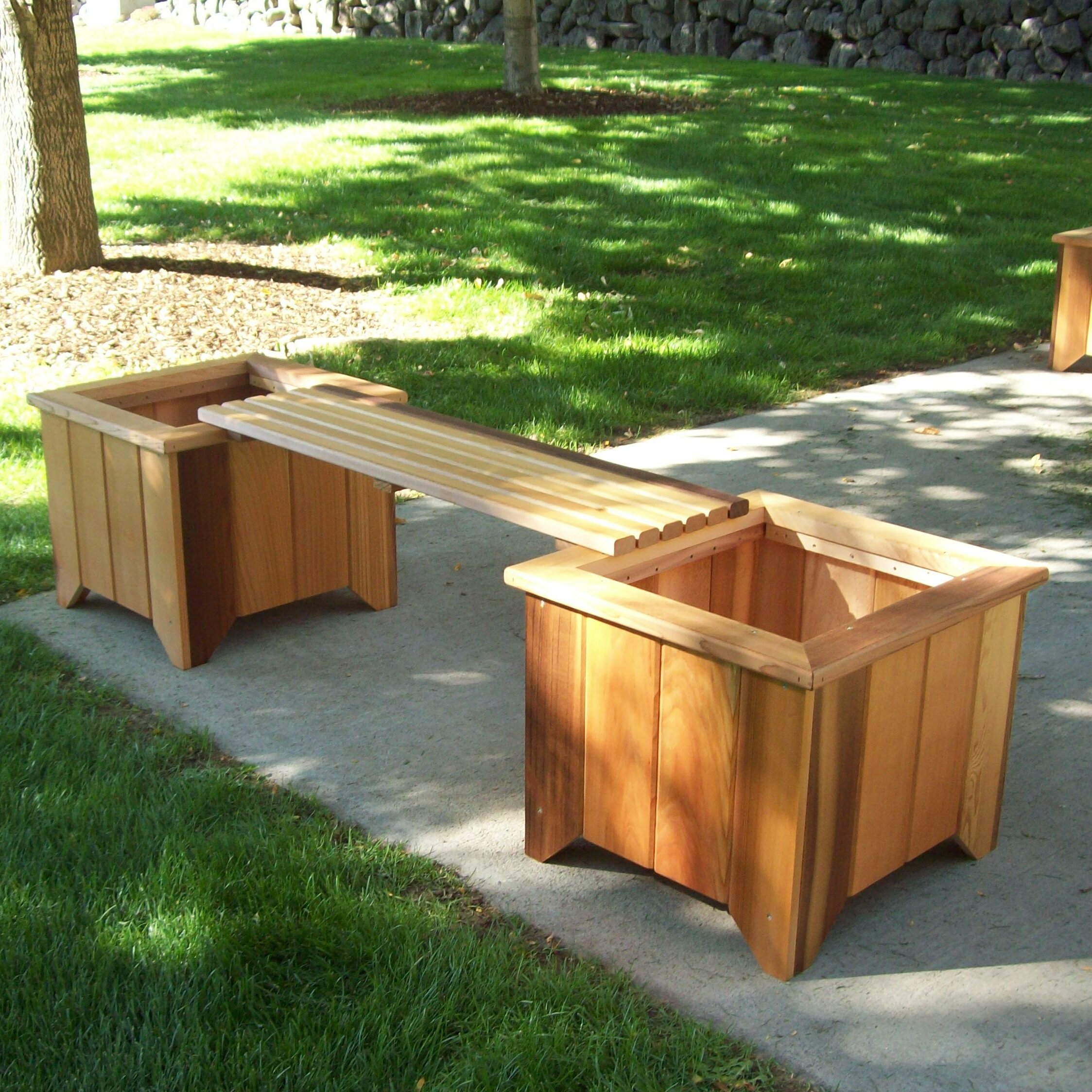 Peachy Wood Planter Bench Pabps2019 Chair Design Images Pabps2019Com