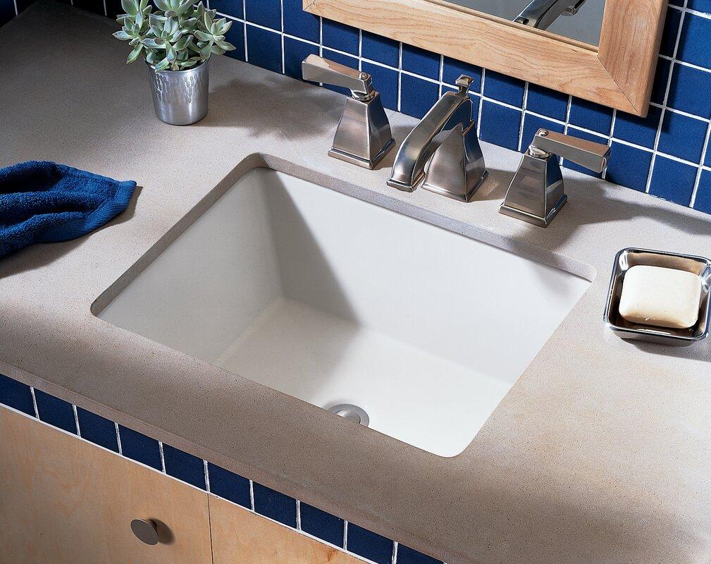 Boulevard Ceramic Rectangular Undermount Bathroom Sink with Overflow
