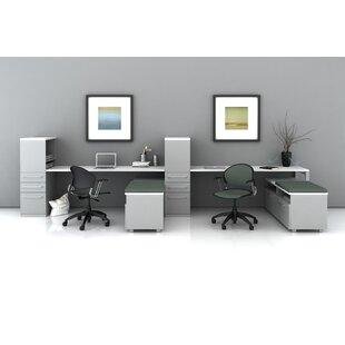 Trendway Trig Desking with Low Storage L-Shape Desk Office Suite