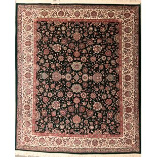 Top Reviews Drewes One-of-a-Kind Varamin Hand-Knotted Wool Black Area Rug ByCanora Grey