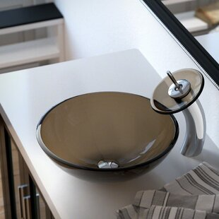 Bargain Glass Circular Vessel Bathroom Sink with Faucet ByMR Direct
