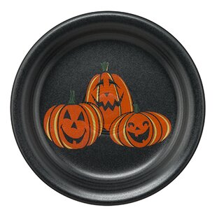 trio of happy pumpkins 65 appetizer plate by fiesta