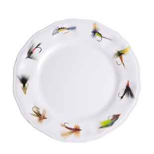 Timmons Fishing Flies Melamine Non-Skid Salad/Dessert Plate