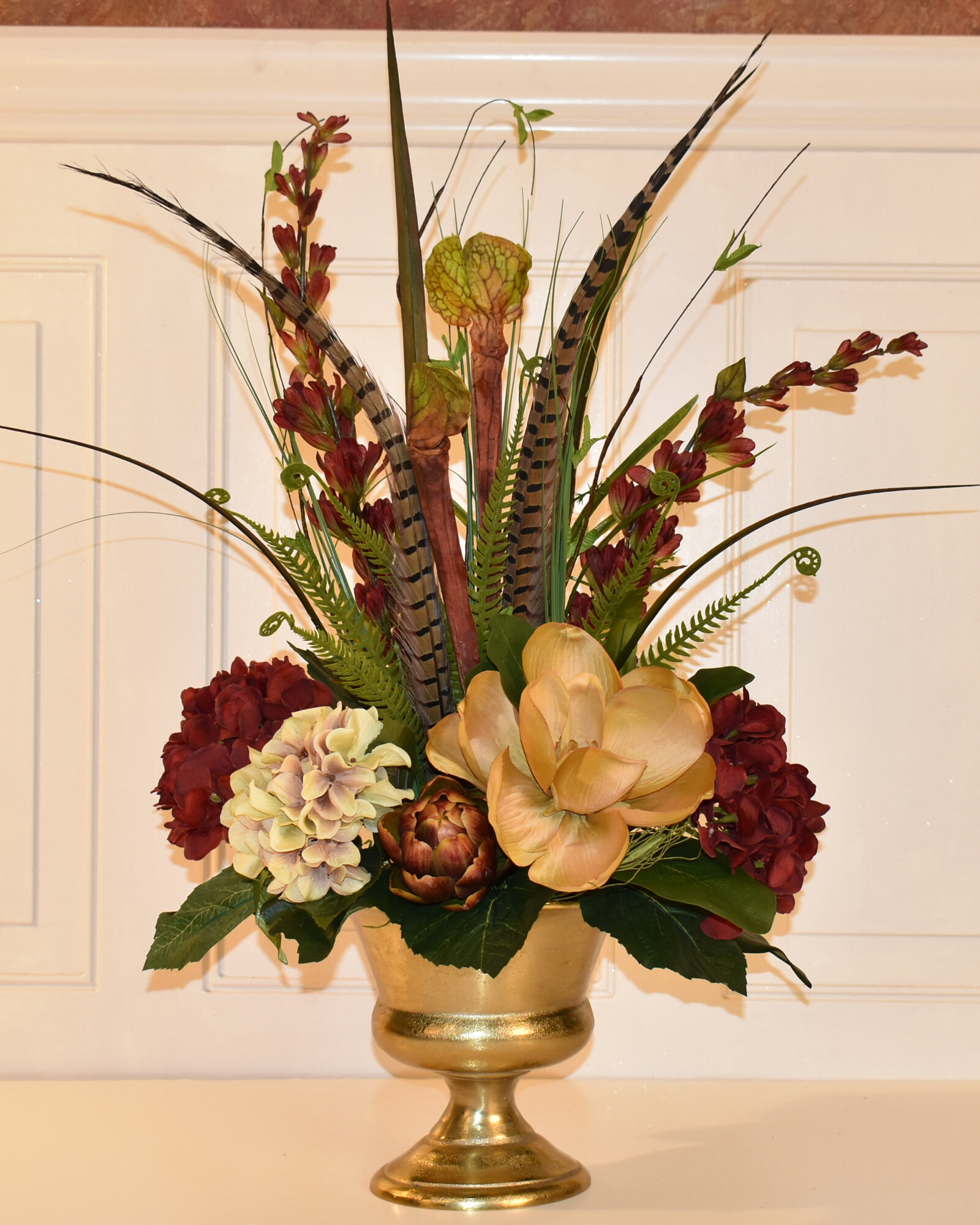 Floral Home Decor Elegant Magnolia And Hydrangea Floral Arrangement In Gold Urn Wayfair