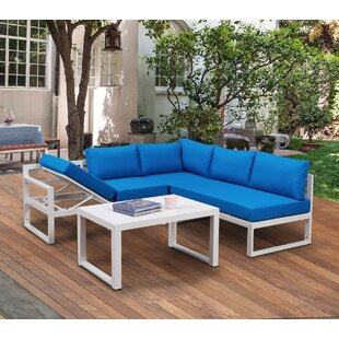 Brazeal Outdoor 4 Piece Sectional Seating Group with Cushions