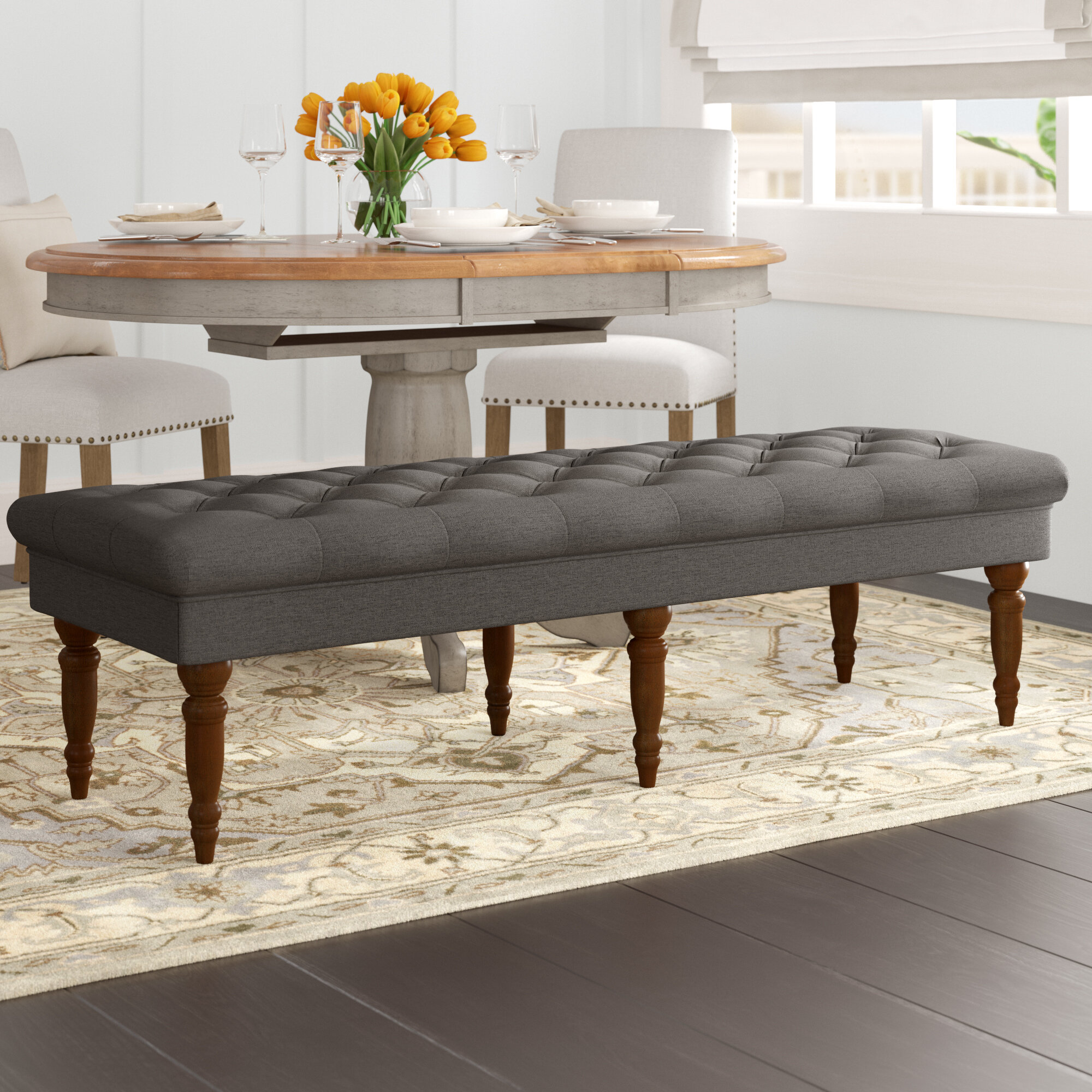 Picture of: Alcott Hill Hodapp Layla Tufted Upholstered Bench Reviews Wayfair