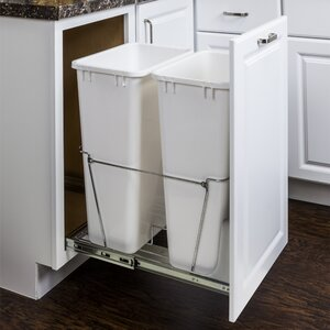 Double Steel 12.5 Gallon Open Pull Out/Under Counter Trash Can