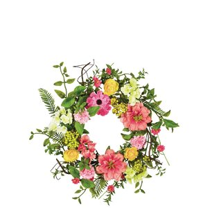 Spring Flower and Berry 14″ Wreath