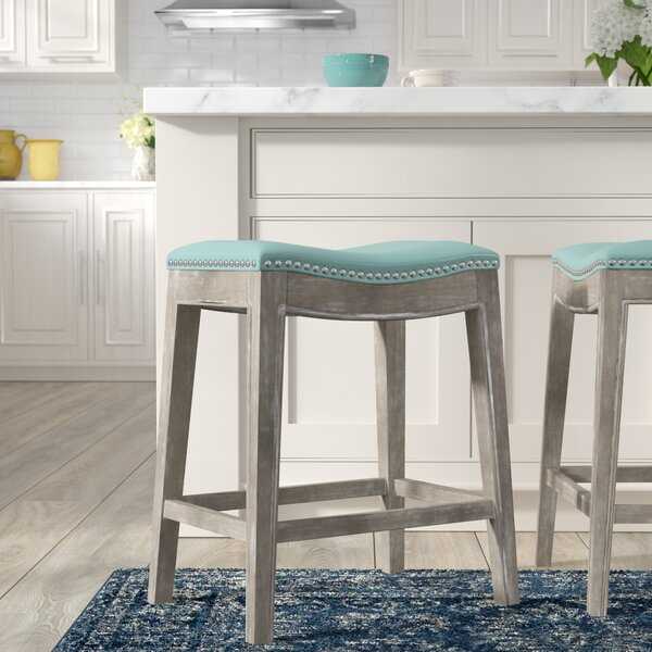 Natural Breakfast Bar With Two Stools Part - 15: Turquoise Bar Stools | Wayfair