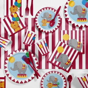 81 Piece Circus Time 1st Birthday Plastic/Paper Tableware Set