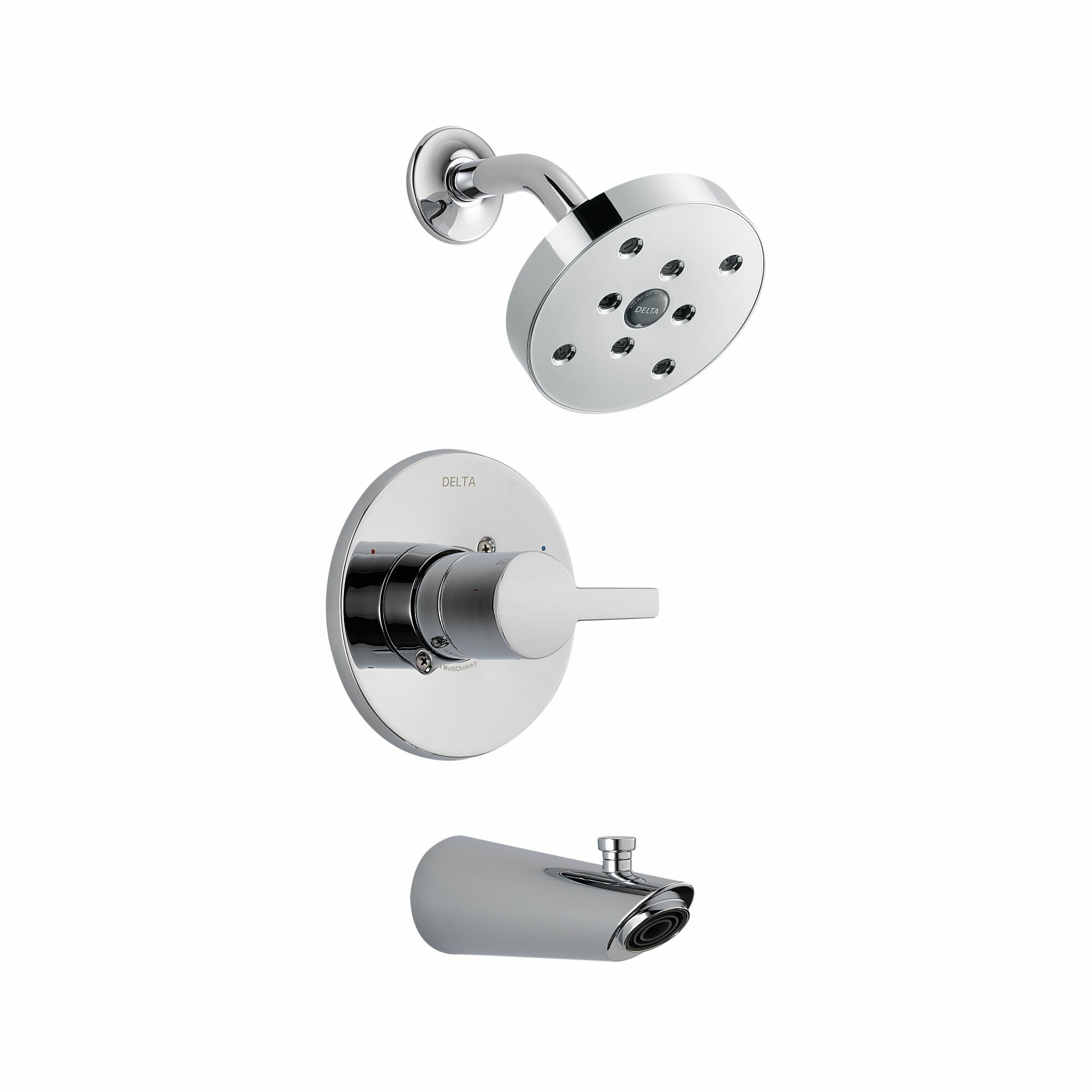 delta rough modern chrome tub spout spray valve handheld cartridge head finish hose lahara products package in and system with faucet bracket wall includes thermostatic shower