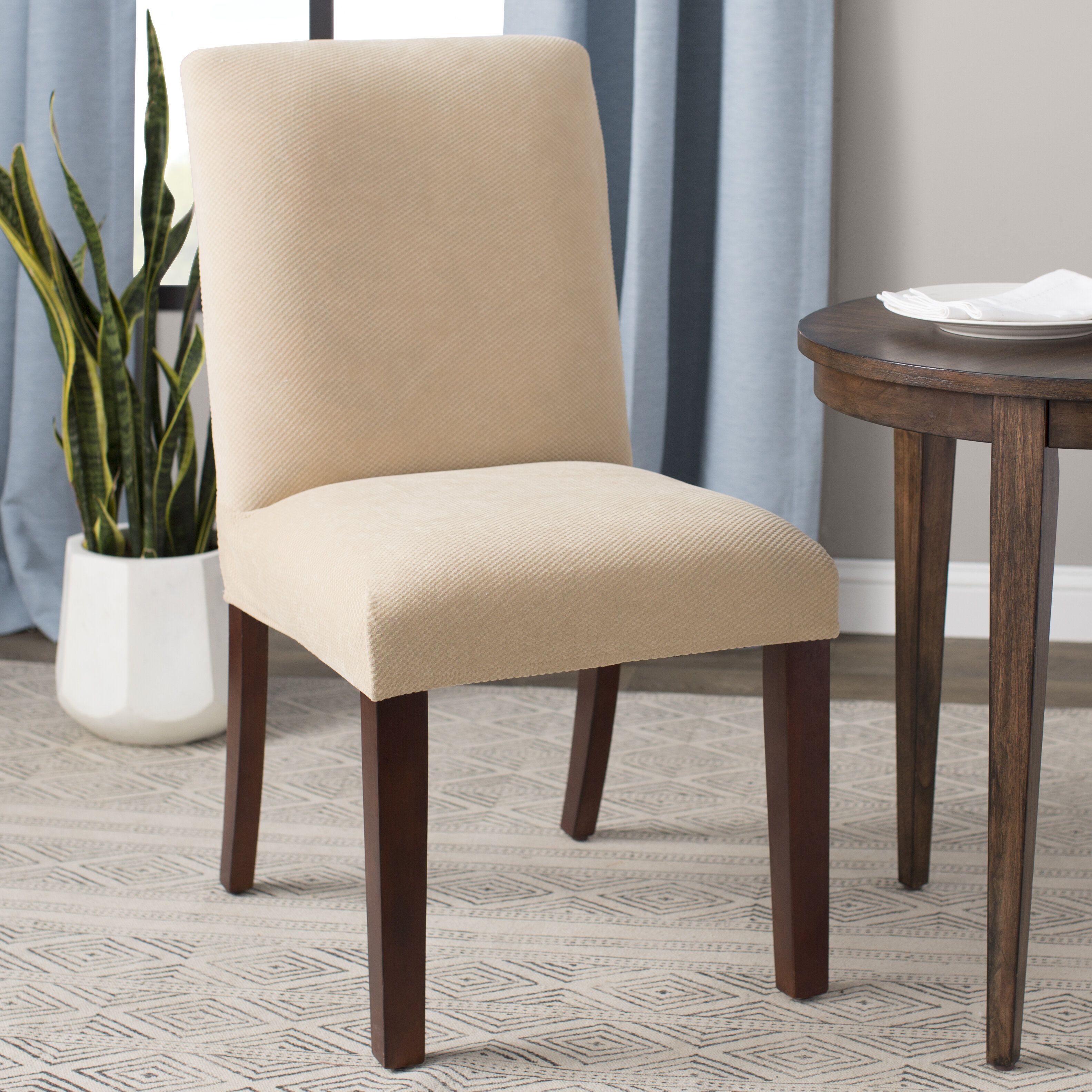 Sure Fit Stretch Pique Box Cushion Dining Chair Slipcover