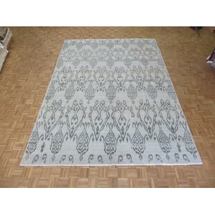 One-of-a-Kind Beaumont Ikat Hand-Knotted Wool Aqua Blue Area Rug