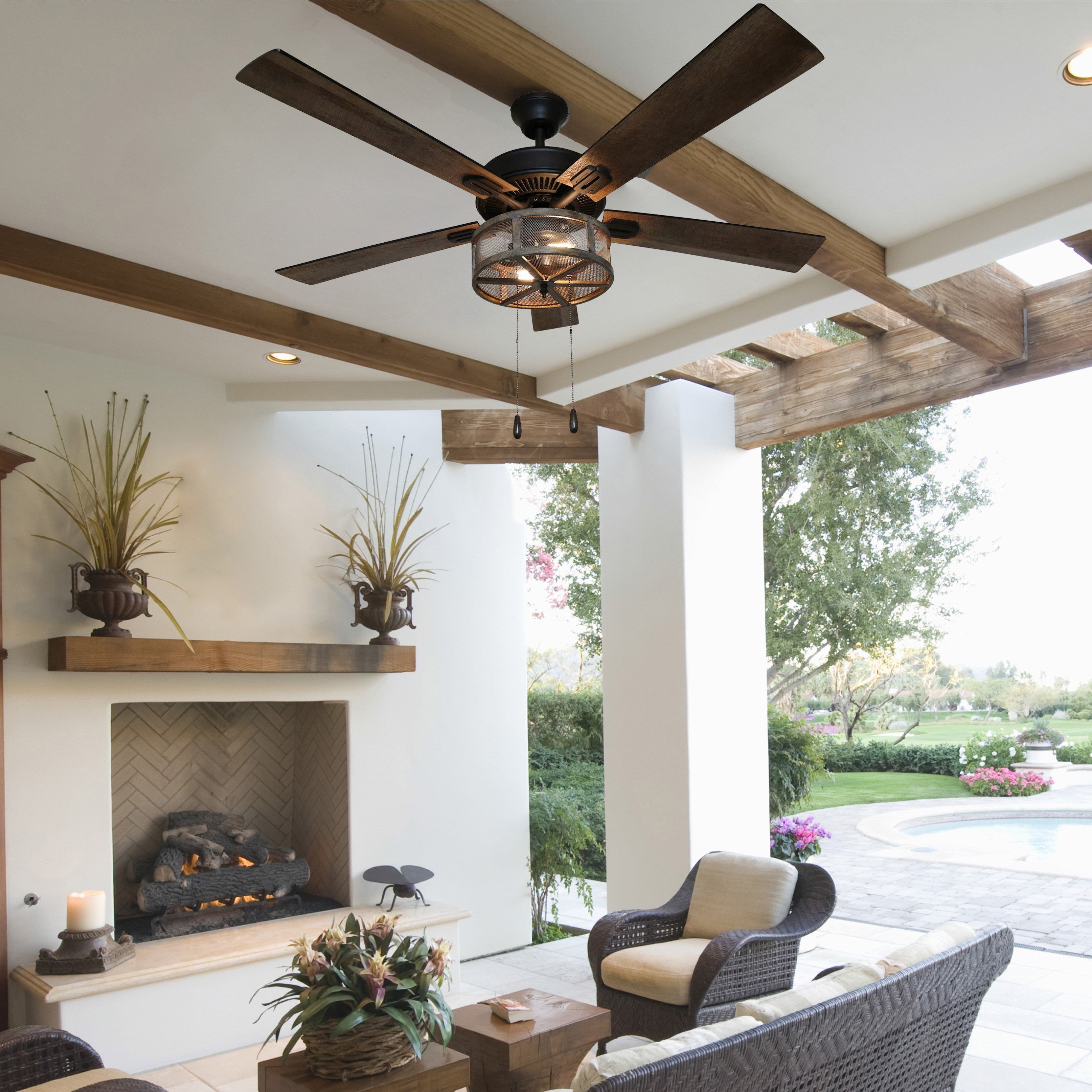 52 Easterling 5 Blade Caged Ceiling Fan With Pull Chain And Light Kit Included Reviews Birch Lane