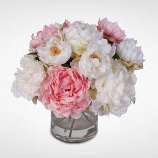 Silk French Peonies Bouquet Floral Arrangement in Vase