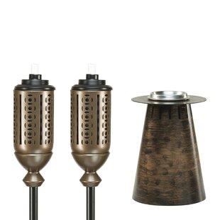 TIKI Brand 3 Piece Cabos Clean Burn Fire Pillar Metal Table and Garden Torch Set (Set of 3)