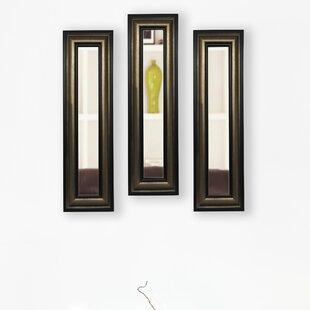 Charlton Home 3 Piece Kincannon Stepped Antiqued Panels Mirror Set (Set of 3)