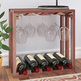 Karnes Redwood Lattice Stemware Cube 10 Bottle Tabletop Wine Rack
