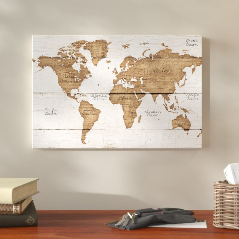 Union Rustic \'Distressed World Map\' Graphic Art Print on Canvas ...
