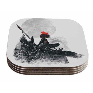 Frederic Levy-Hadida 'Princess Monokiki' Fantasy Illustration Coaster (Set of 4) ByEast Urban Home