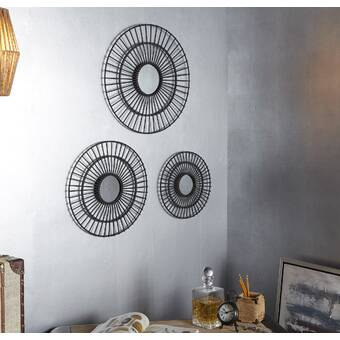 Cole & Grey Metal Round Wall Mirror | Wayfair