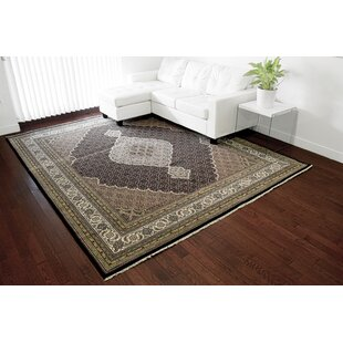 Best Review One-of-a-Kind Beaton Handwoven Black Wool/Silk Area Rug By Isabelline