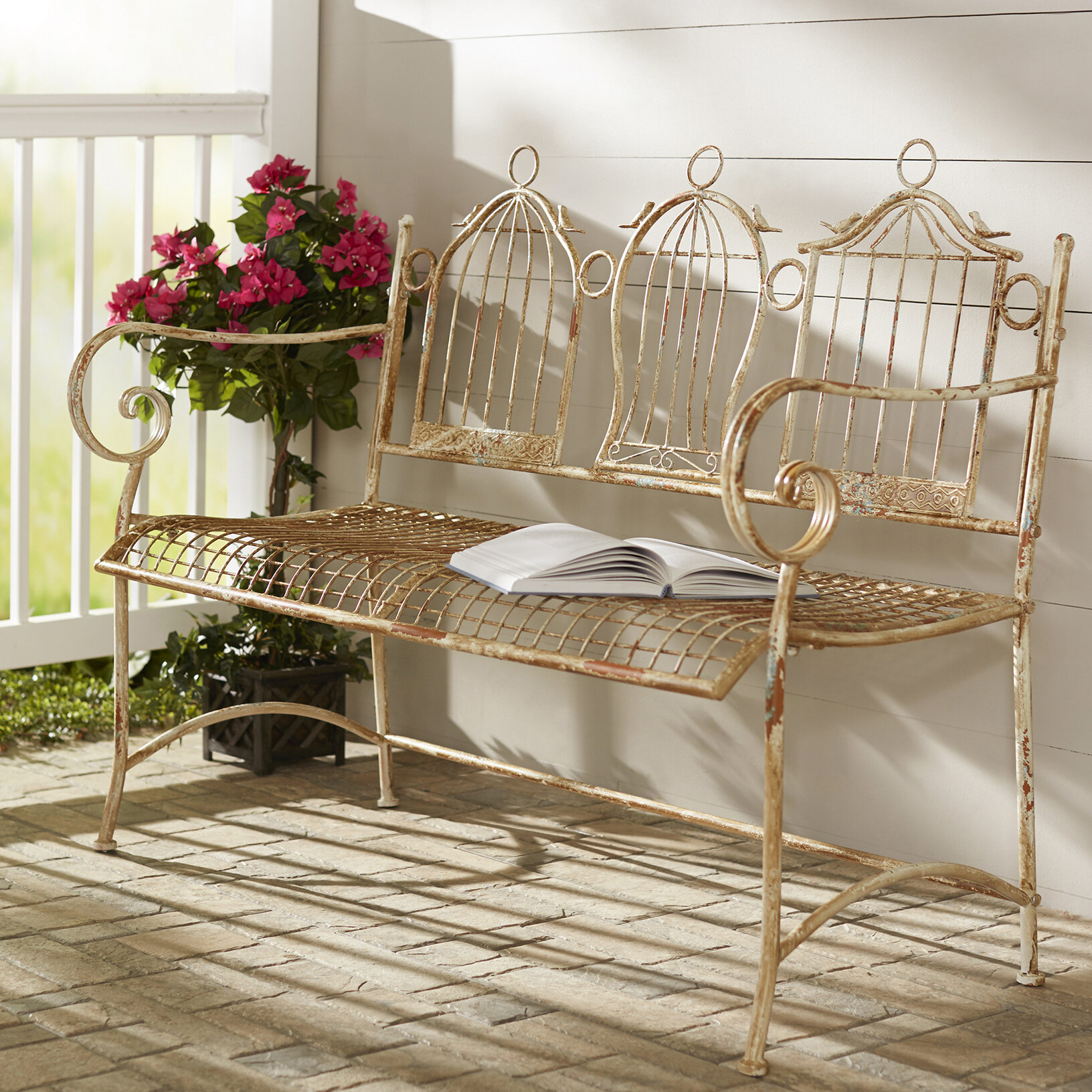 Sensational One Allium Way Pinedo 3 Birdcages Iron Garden Bench Gmtry Best Dining Table And Chair Ideas Images Gmtryco