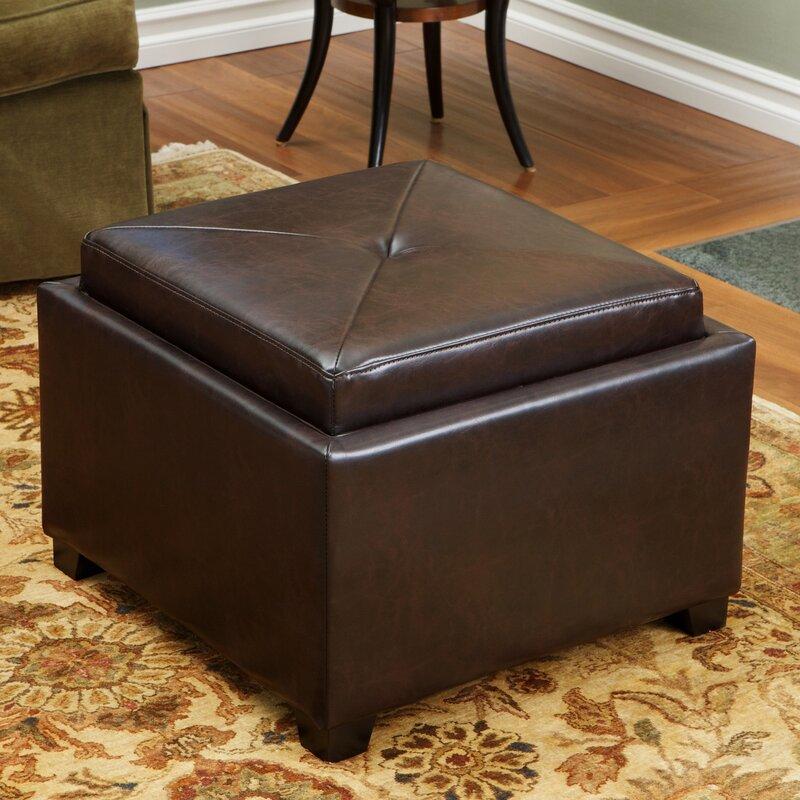 Drexel Leather Tray Top Storage Ottoman