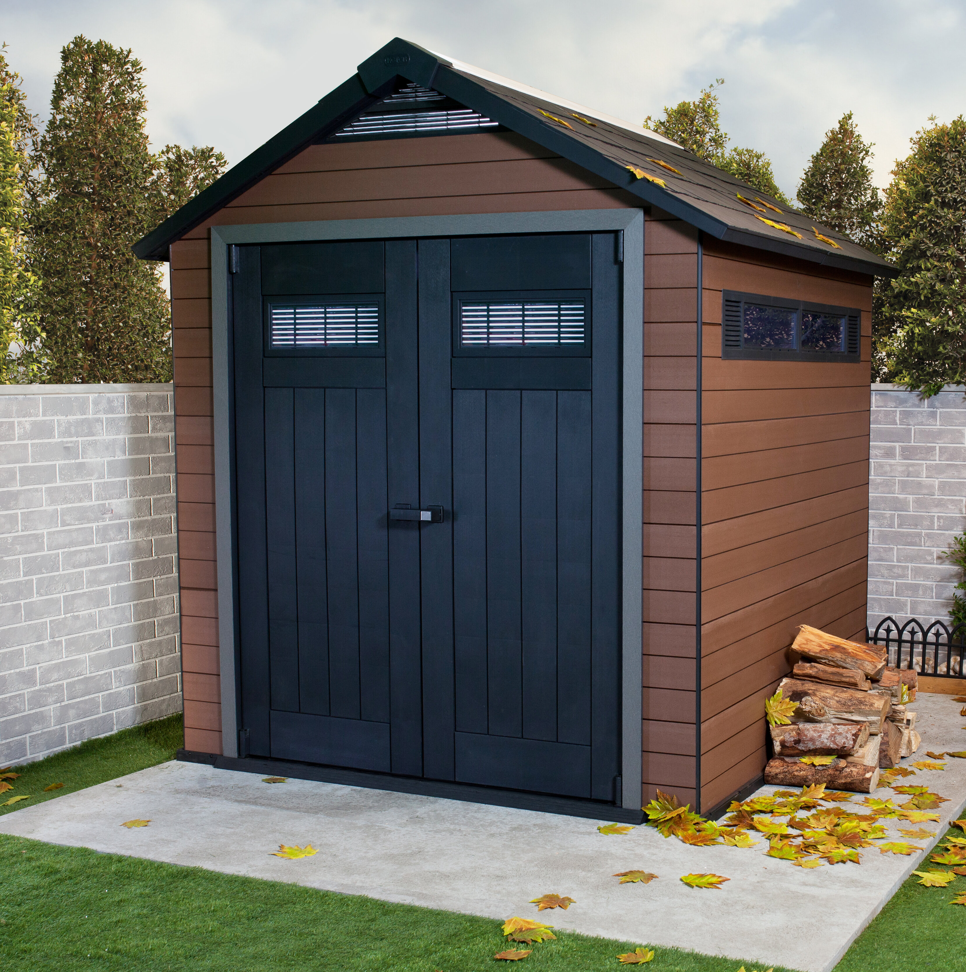Keter Fusion 7 ft. 4 in. W x 7 ft. 5 in. D Wood-Plastic Composite Storage Shed u0026 Reviews   Wayfair & Keter Fusion 7 ft. 4 in. W x 7 ft. 5 in. D Wood-Plastic Composite ...