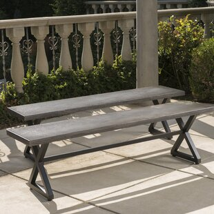 Lal Outdoor Aluminum Picnic Bench (Set of 2)