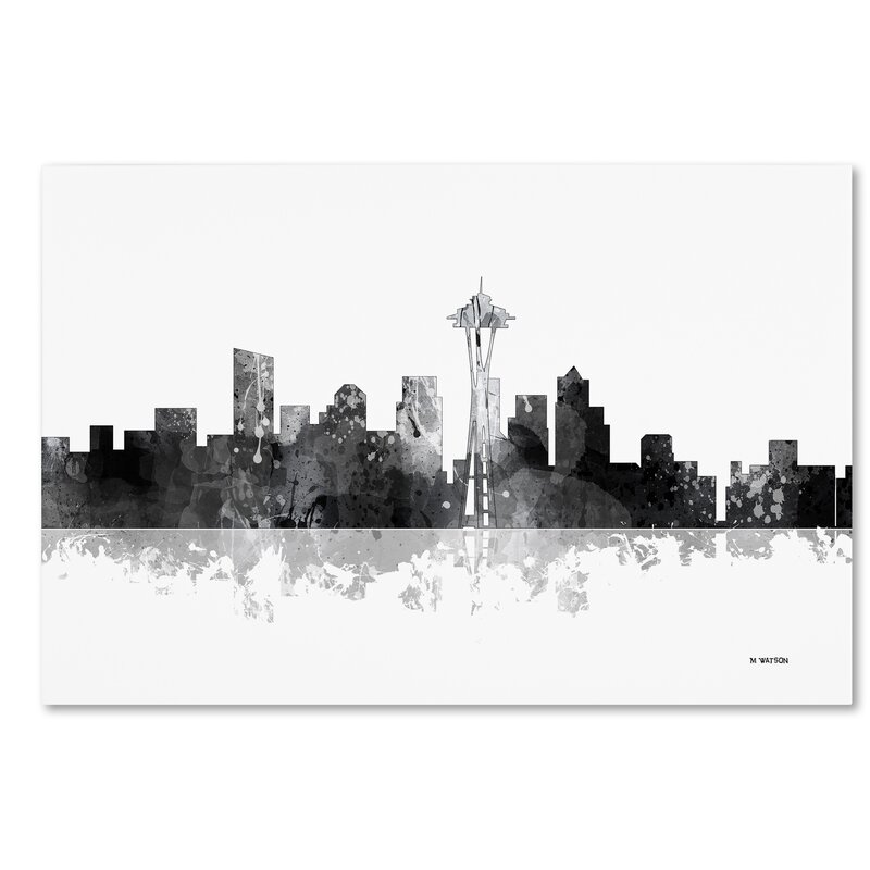 Trademark Art Seattle Washington Skyline Bg 1 Graphic Art Print On Wrapped Canvas Wayfair