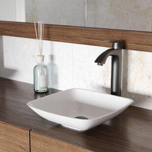 Matte Stone Square Vessel Bathroom Sink