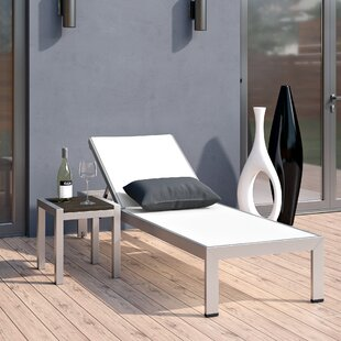 Coline Contemporary Outdoor Patio 2 Piece Metal Single Chaise and Table Set
