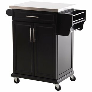 Taunton Rolling Kitchen Island with Stainless Steel Top Ebern Designs
