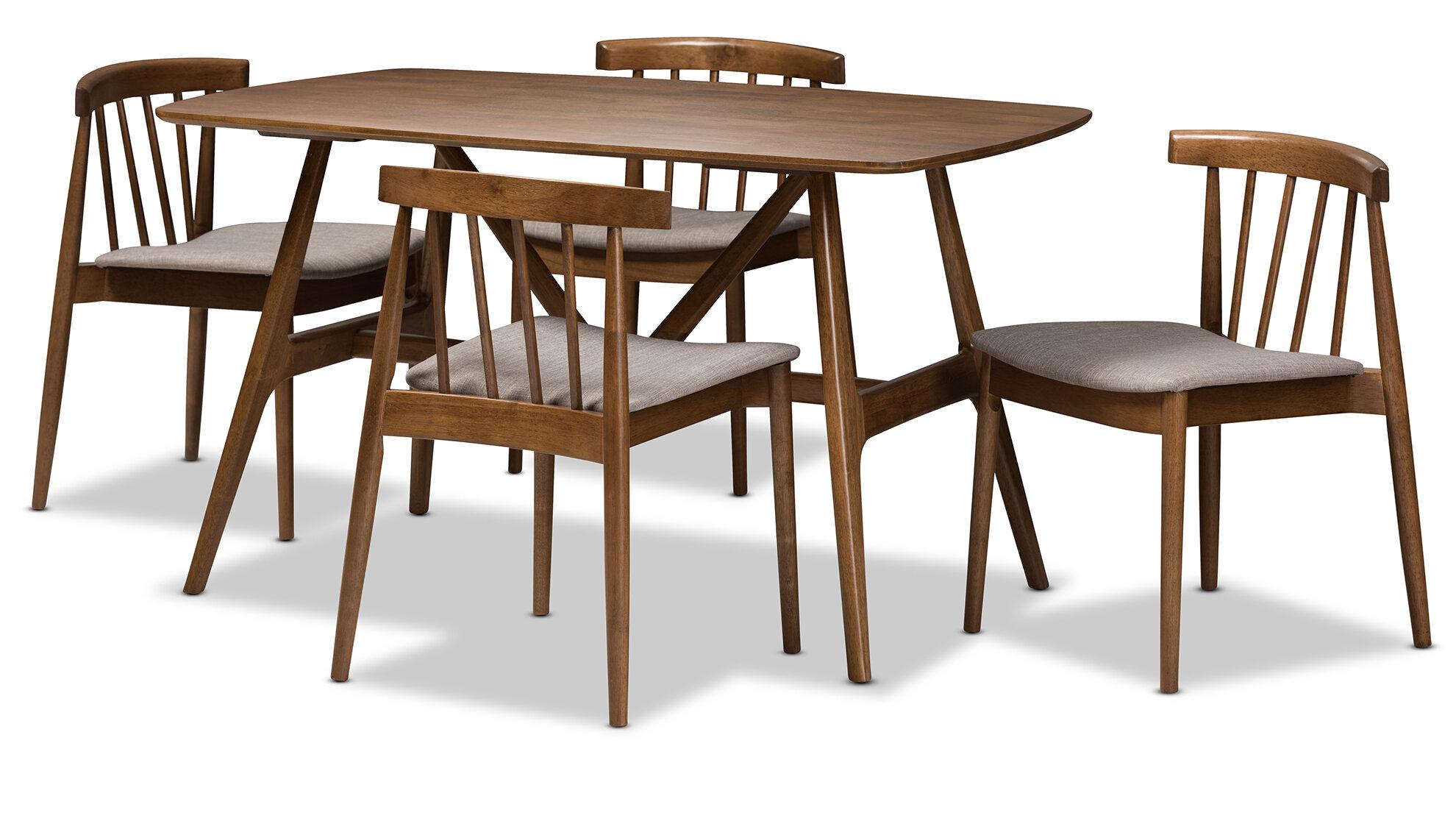 George Oliver Watkin Mid Century Modern 5 Piece Breakfast Nook Dining Set    Wayfair