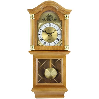 Classic Chiming Wall Clock with Swinging Pendulum Bedford Clock Color: Golden Oak