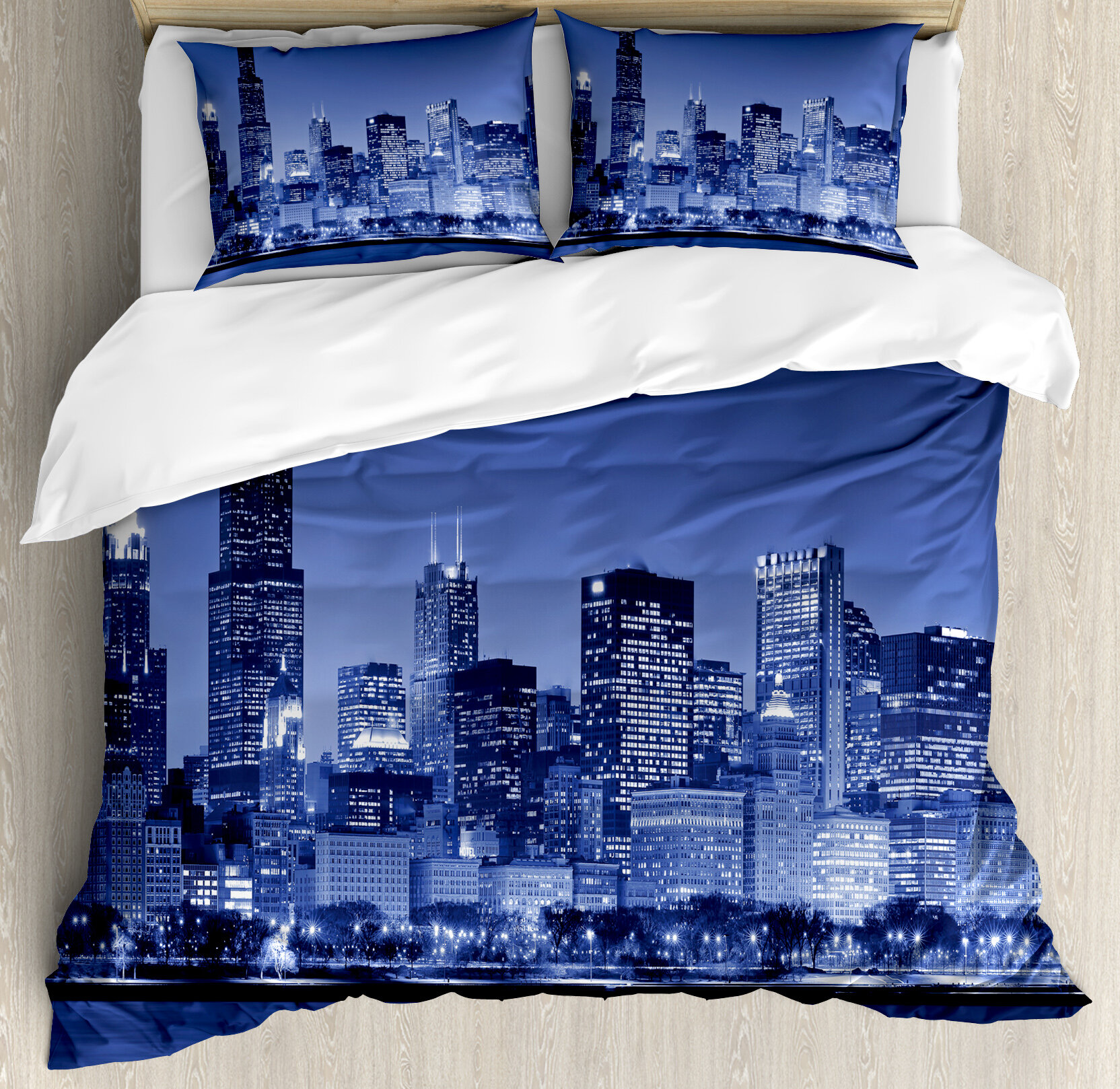 Usa Chicago City Skyline at Night with Tall Buildings Urban Modern Life  American Town Scene Duvet Cover Set