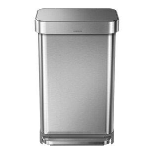 simplehuman 11.9 Gallon Rectangular Step Trash Can with Liner Pocket