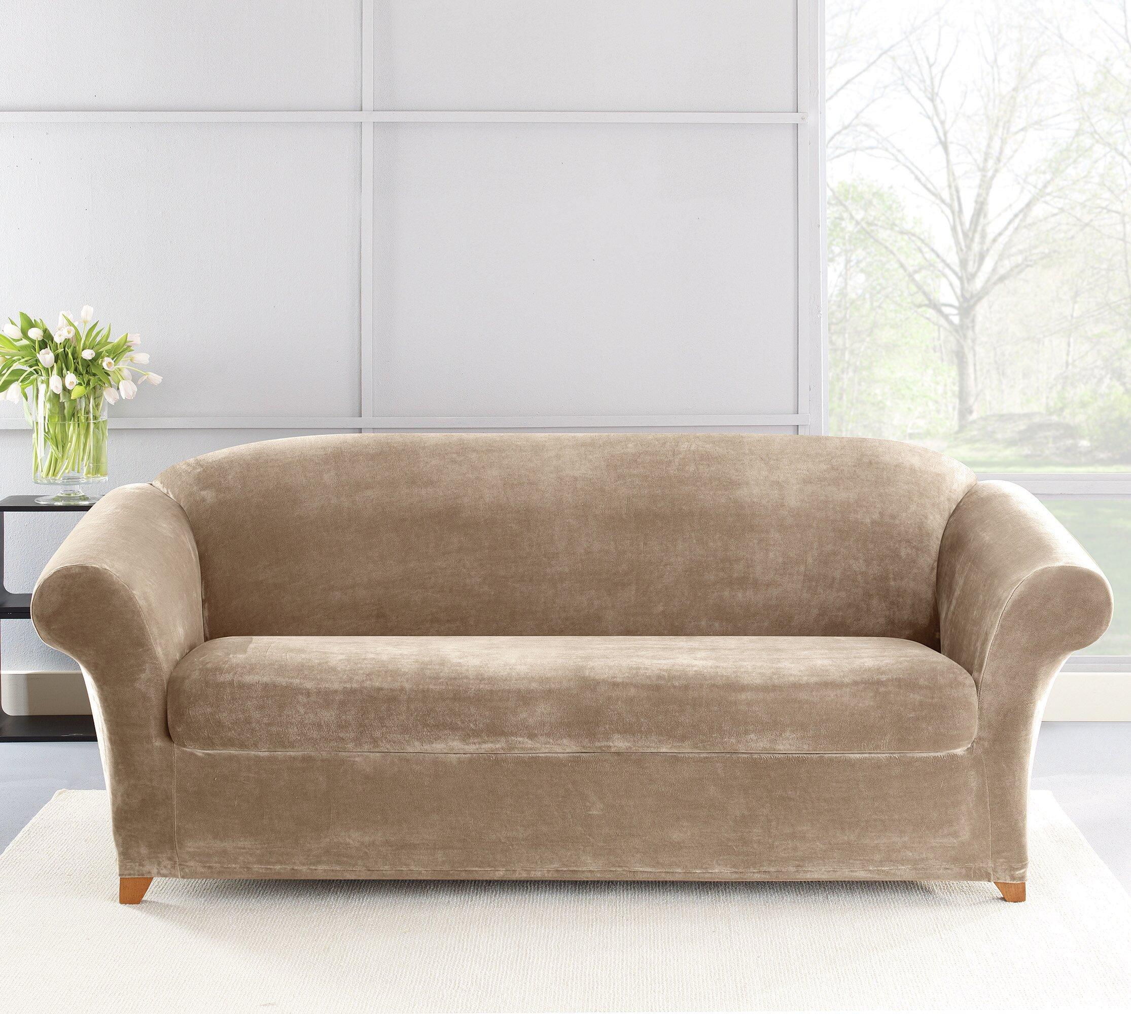 Peachy Stretch Plush 2 Piece Sofa Slipcover Set Beatyapartments Chair Design Images Beatyapartmentscom