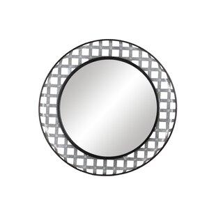 Gracie Oaks Rosena Metal Round Wall Mounted Mirror