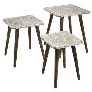 Zierikzee Piers Metal Clad 3 Piece Nesting Tables by Bungalow Rose